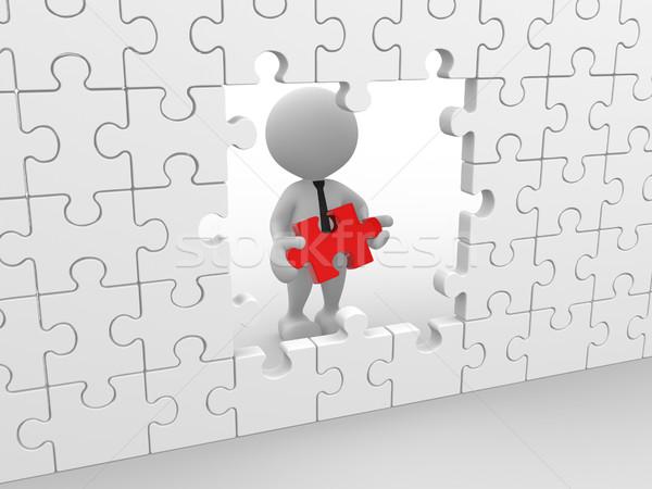 Quebra-cabeça 3d pessoas homem pessoa fundo empresário Foto stock © coramax