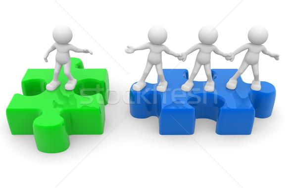 Puzzel 3d mensen man persoon helpende hand Stockfoto © coramax