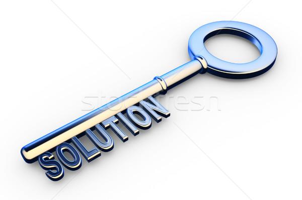 Anahtar 3D çözümler metin simge başarı Stok fotoğraf © coramax
