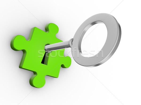 Stock foto: Puzzle · Stück · Schlüssel · 3d · render · Tür