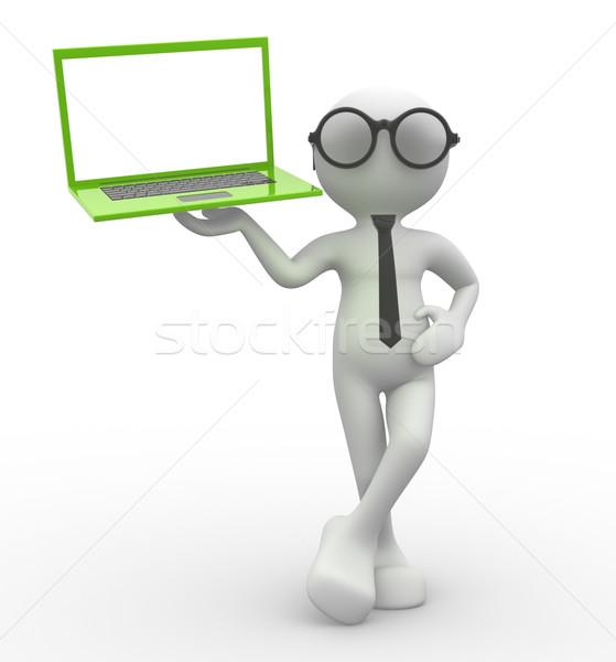 Laptop 3d pessoas homem pessoa abstrato fundo Foto stock © coramax