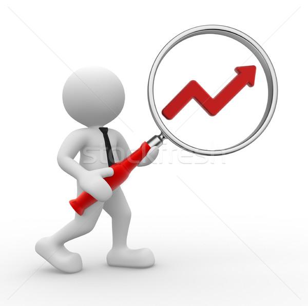 Stock fotó: Nagyító · 3d · emberek · férfi · személy · grafikon · pénzügyi