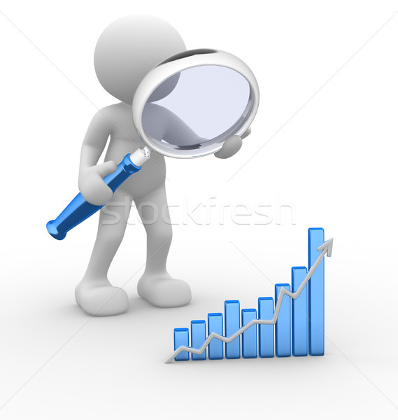 Nagyító 3d emberek férfi személy grafikon pénzügyi Stock fotó © coramax