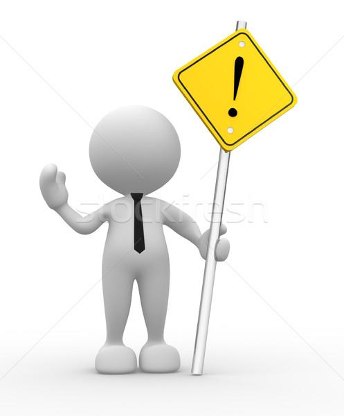 Alertar 3d pessoas homem pessoa amarelo assinar Foto stock © coramax