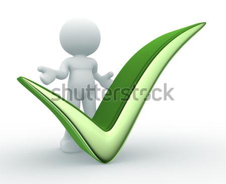 3d people - man, person  with a huge tick and thumb up. Stock photo © coramax