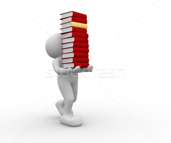 Boeken 3d mensen mannen persoon papier student Stockfoto © coramax