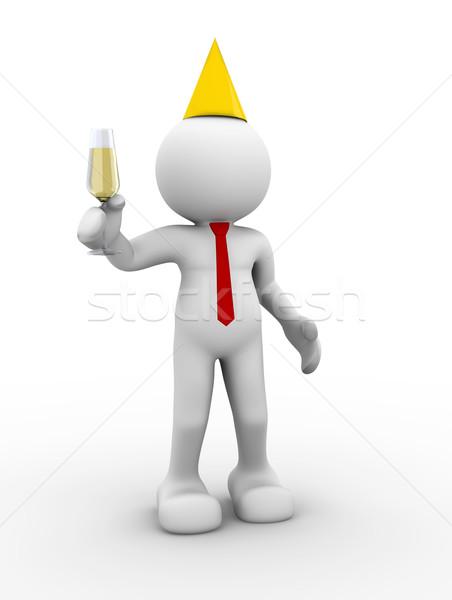 Vidrio champán 3d personas humanos carácter persona Foto stock © coramax