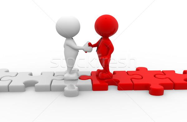 Empresario 3d personas hombres persona apretón de manos piezas del rompecabezas Foto stock © coramax