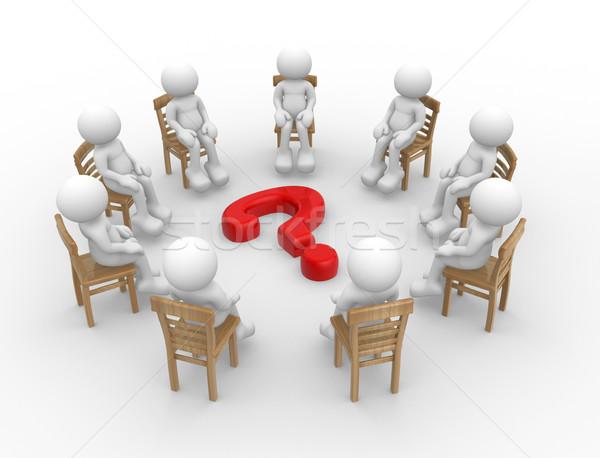 Kérdőjel 3d render férfi emberek ül székek Stock fotó © coramax