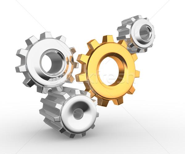 Dişli mekanizma 3d render saat takım enerji Stok fotoğraf © coramax