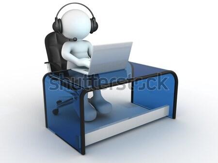 Laptop 3d emberek emberi személy ül asztal Stock fotó © coramax