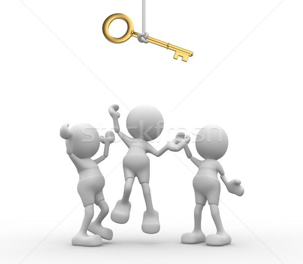 Stock foto: Schlüssel · 3D-Menschen · Männer · Person · kämpfen · Business