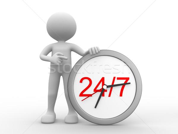 Service clients gens 3d homme personne horloge internet Photo stock © coramax
