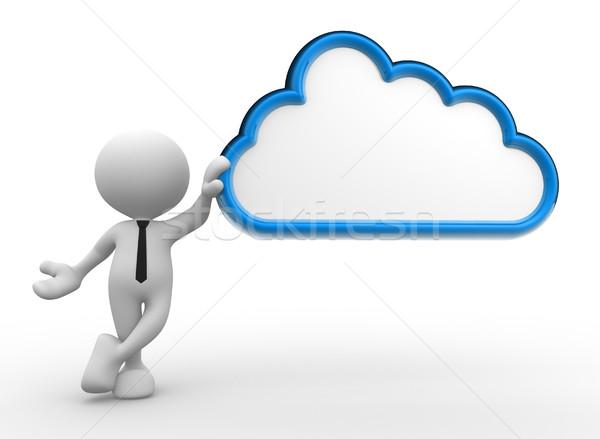 бизнесмен 3d люди человека человек облаке небе Сток-фото © coramax