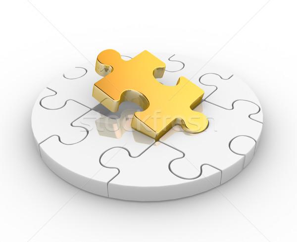 Peças do puzzle quebra-cabeça 3d render ilustração fundo Foto stock © coramax