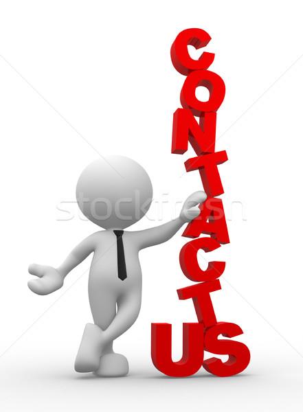 Kapcsolatfelvétel 3d emberek férfi személy szó üzlet Stock fotó © coramax