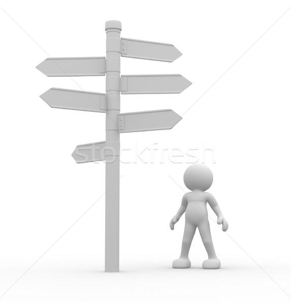 Photo stock: Signe · gens · 3d · homme · personne · permanent · route