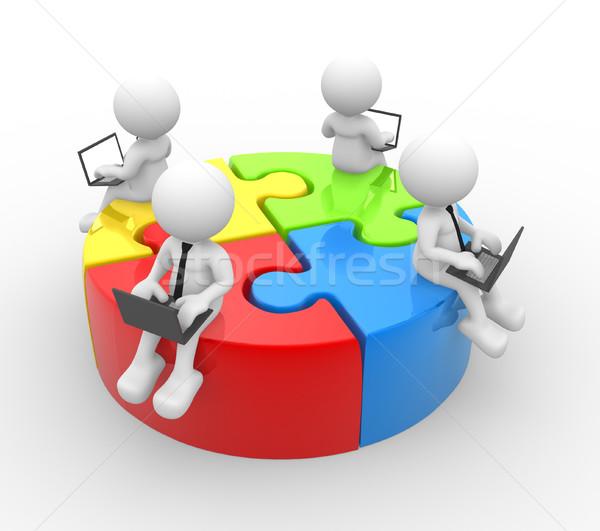 Laptop 3d emberek férfi személy kommunikáció puzzle Stock fotó © coramax