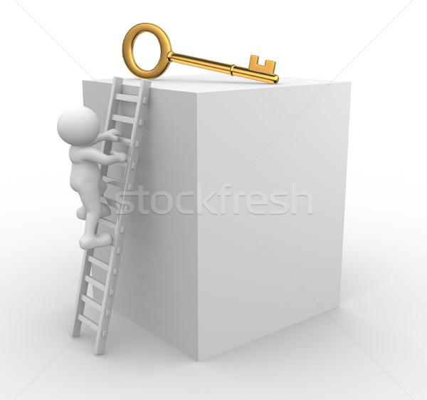 Chave 3d pessoas homens pessoa escalada dourado Foto stock © coramax
