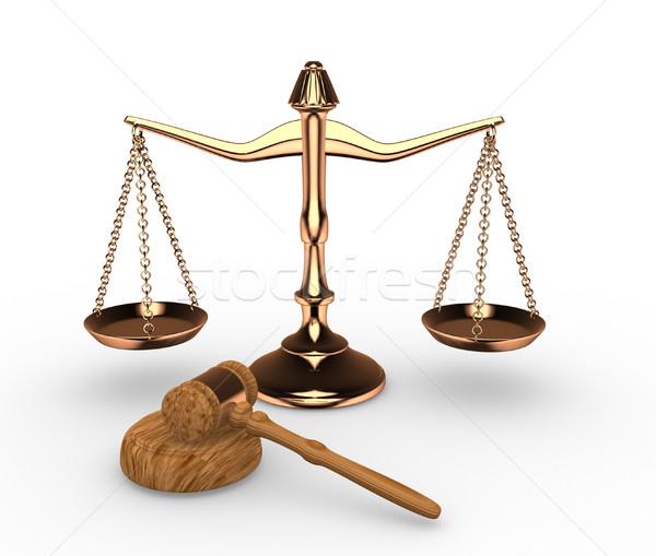 échelles justice marteau marteau rendu 3d fond Photo stock © coramax