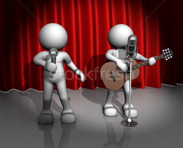 Band la gente 3d uomo persona chitarra acustica chitarrista Foto d'archivio © coramax