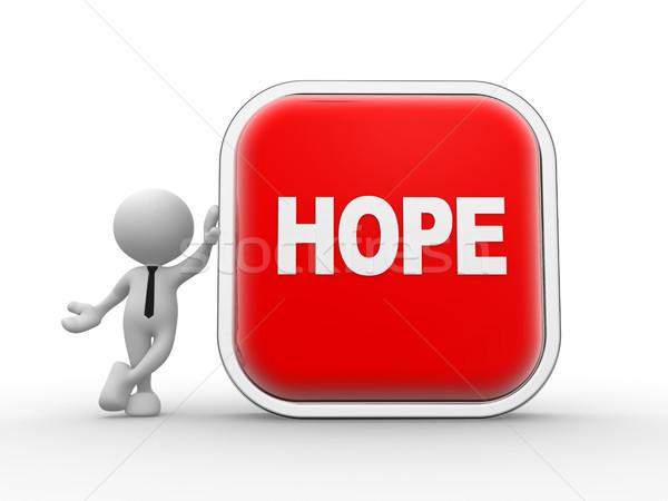希望 3次元の人々 男 人 ボタン 言葉 ストックフォト © coramax