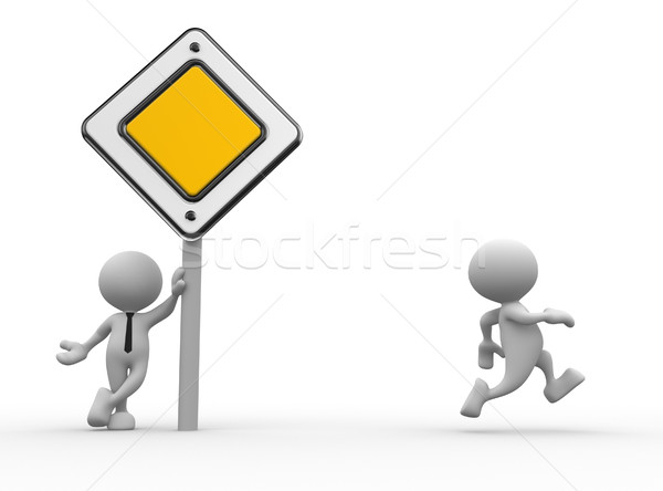 Prioridade assinar 3d pessoas homem pessoa placa sinalizadora Foto stock © coramax