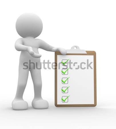 Stock fotó: Lista · 3d · emberek · férfi · személy · üzletember · üzlet