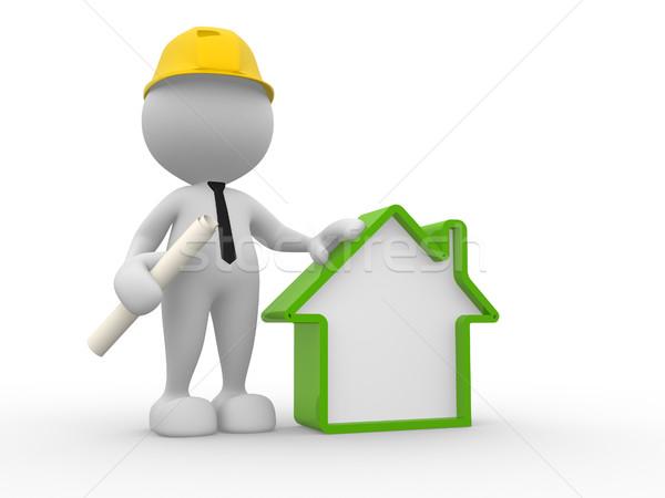 Bouwer 3d mensen man persoon huis werk Stockfoto © coramax