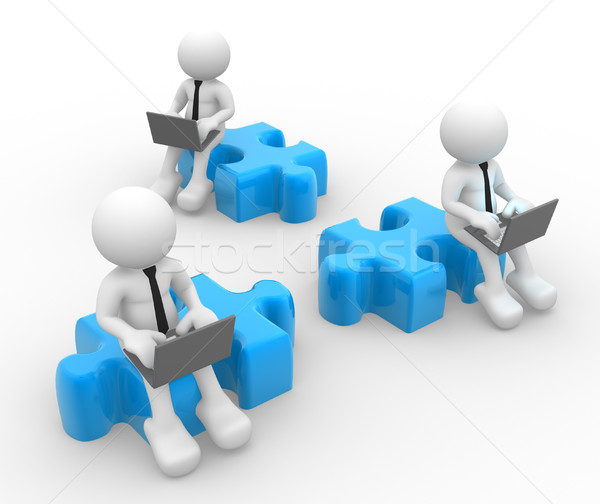 бизнесменов 3d люди человека человек ноутбука частей Сток-фото © coramax