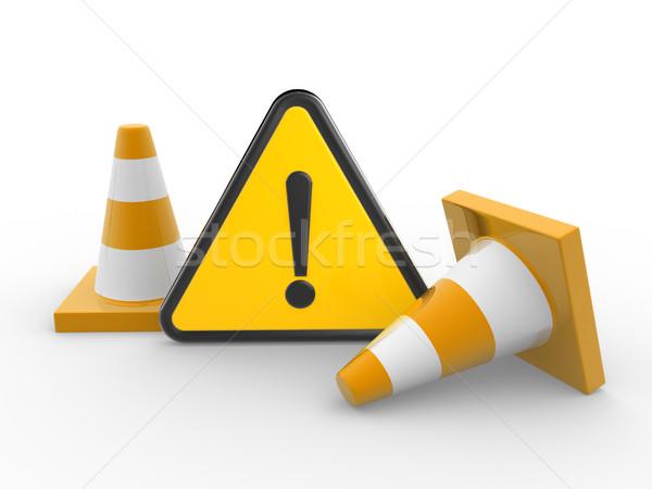 3D negro triángulo amarillo tráfico Foto stock © coramax