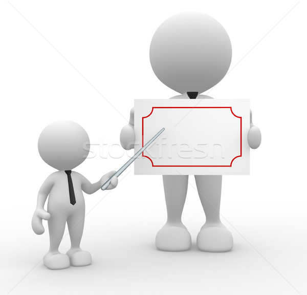Empresário 3d pessoas homem pessoa conselho Foto stock © coramax