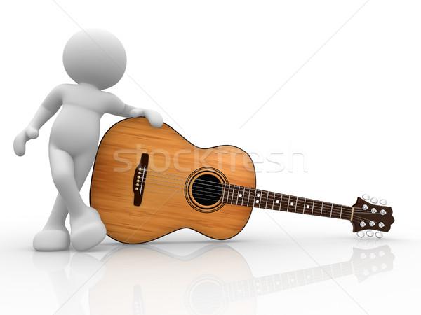 Gitarist 3d insanlar insan karakter kişi akustik gitar Stok fotoğraf © coramax