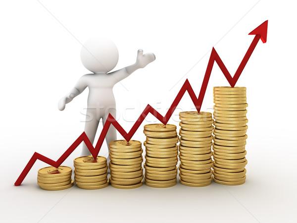 монетами 3d люди человека финансовых диаграмма Сток-фото © coramax