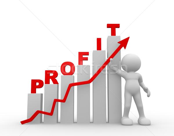 Nyereség 3d emberek férfi személy magyaráz diagram Stock fotó © coramax