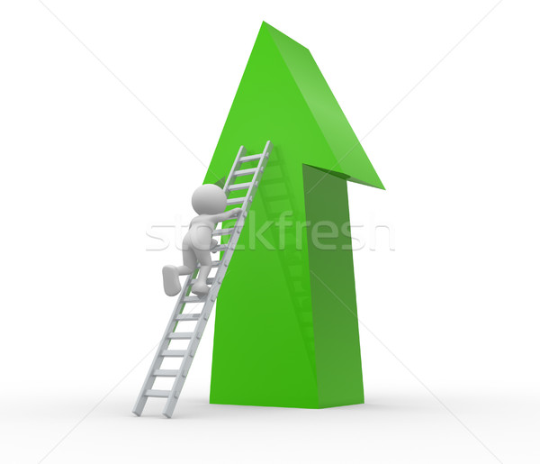 矢印 3次元の人々 男 人 はしご 男性 ストックフォト © coramax