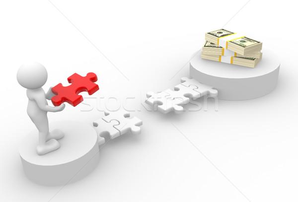 Dollár 3d emberek férfi személy darabok puzzle Stock fotó © coramax