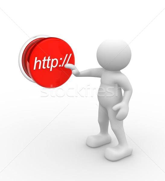 Http 3d pessoas homem pessoa empurrando botão Foto stock © coramax