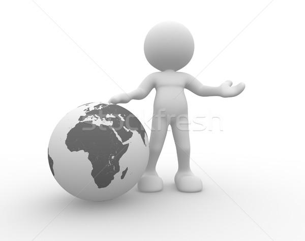 ストックフォト: 地球 · 世界中 · 3次元の人々 · 男 · 人 · 幸せ