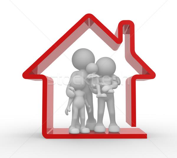 Familie huis 3d mensen menselijke karakter persoon Stockfoto © coramax
