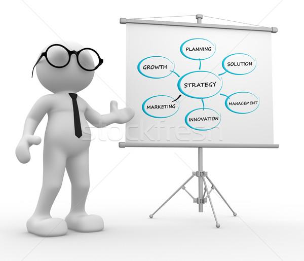 üzletember 3d emberek férfi személy flipchart kép Stock fotó © coramax