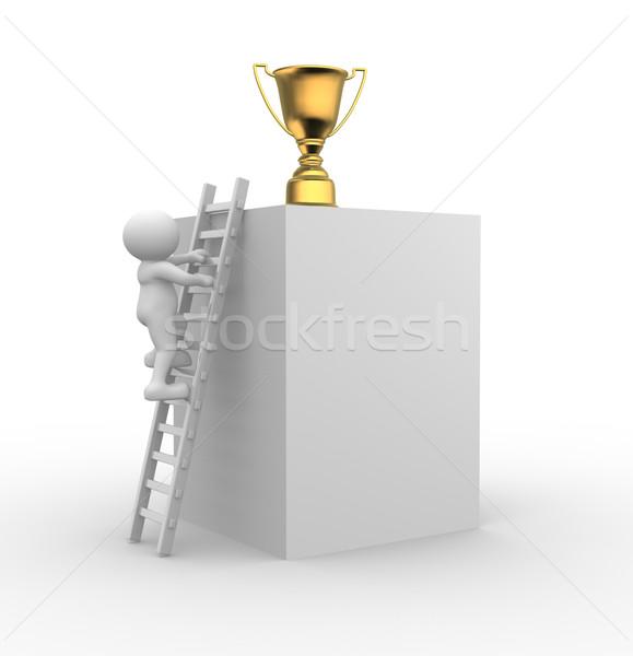 Trofee 3d mensen mannen persoon ladder beker Stockfoto © coramax