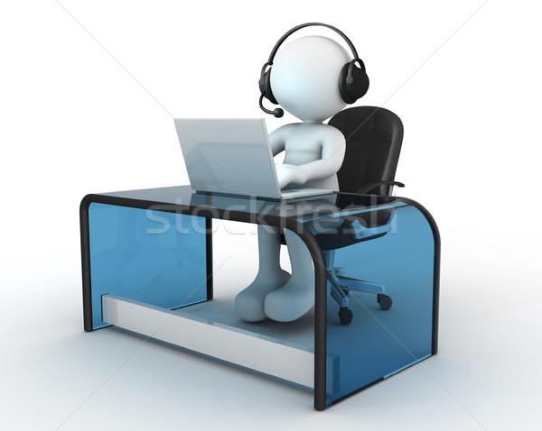 Kantoor 3d mensen man persoon hoofdtelefoon vergadering Stockfoto © coramax