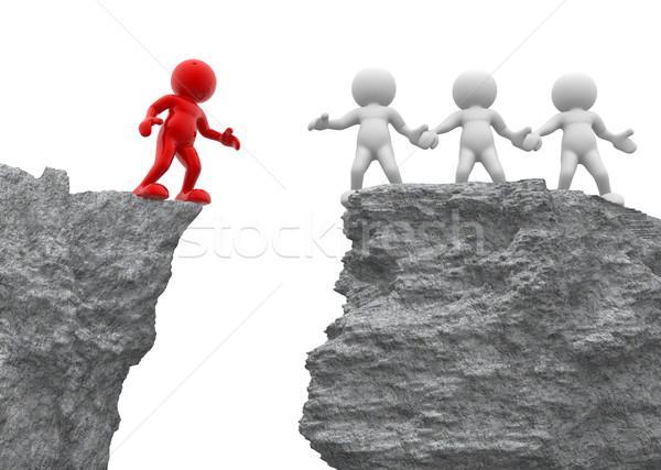 Helpende hand 3d mensen mannen persoon rock alleen Stockfoto © coramax
