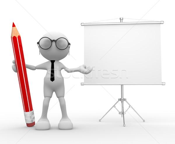 Flipchart 3d insanlar adam kişi kalem tahta Stok fotoğraf © coramax