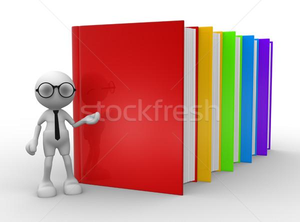 Könyvek 3d emberek férfiak személy oktatás papír Stock fotó © coramax