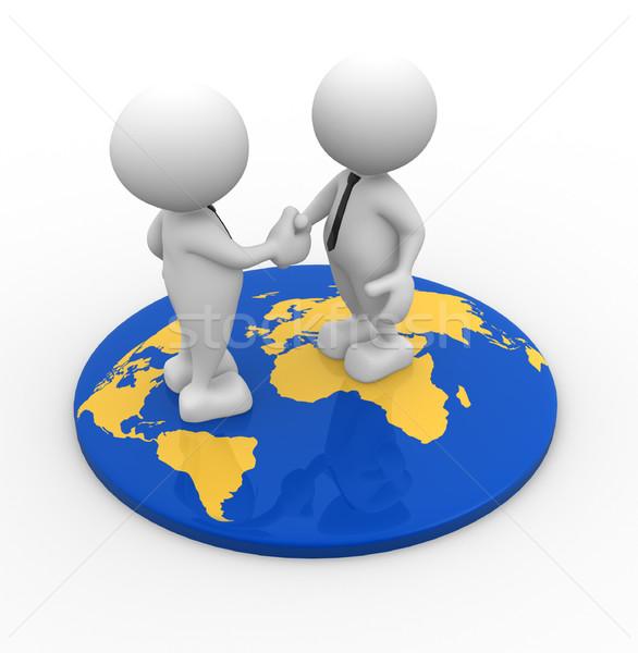 Mappa del mondo la gente 3d uomini persona piedi Foto d'archivio © coramax
