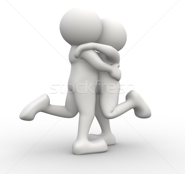 Couple gens 3d humaine personnage personne baiser Photo stock © coramax
