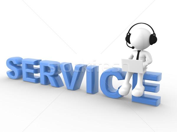 Servicio 3d personas hombre persona portátil auriculares Foto stock © coramax