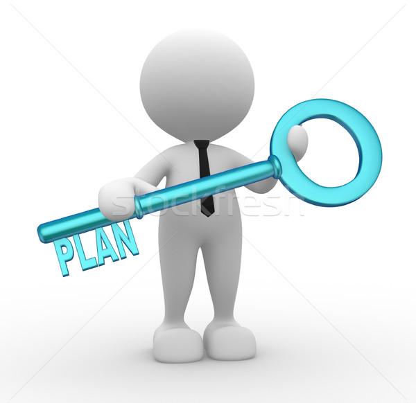 Plano 3d pessoas homem pessoa chave Foto stock © coramax